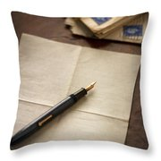 Bundle Of Vintage Letters With Fountain Pen Throw Pillow