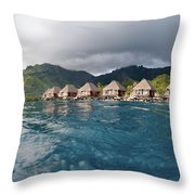 Bungalows Over Ocean Throw Pillow