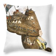 Bunker Hill: Cartoon, 1776 Throw Pillow