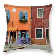 Burano Italy Throw Pillow