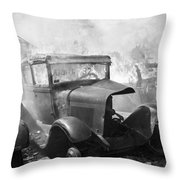 Burning Car Circa 1942  Throw Pillow