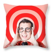 Business Man In Fear On Target Background Throw Pillow