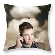 Businessman Having Bad Day. Communication Trouble Throw Pillow