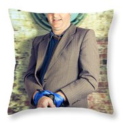 Businessman In Stress With Hands Bound Up Throw Pillow