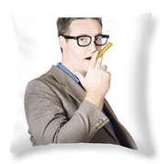 Businessman Making Cigarette Of Rolled Banknote Throw Pillow