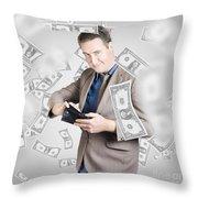 Businessman Under Falling Money. Financial Success Throw Pillow