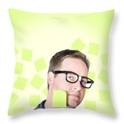 Busy Business Man With Lots Of Errands. Hard Work Throw Pillow