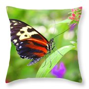 Butterfly On Bush Throw Pillow