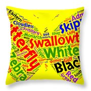 Butterfly Word Cloud Throw Pillow