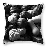 Bw Farm Market Acorn Butternut And Carnival Squash Michigan Usa Throw Pillow