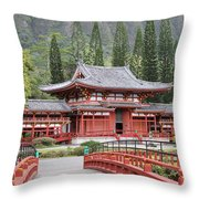 Byodo-in Temple Throw Pillow