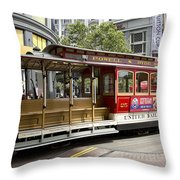 Cable Car On Turntable San Francisco Throw Pillow