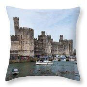 Caernarfon Castle Panorama Throw Pillow
