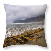 Caleta De Famara Beach On Lanzarote Throw Pillow