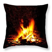 Campfire As A Symbol Of Warmth And Life On Black Throw Pillow