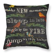 Camping Rules-d Throw Pillow