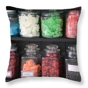 Candy In Container On Store Shelf Throw Pillow