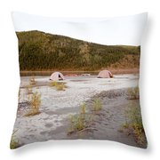 Canoe Tent Camp At Yukon River In Taiga Wilderness Throw Pillow