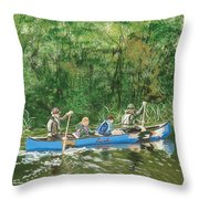 Canoeing With Grandpa Throw Pillow