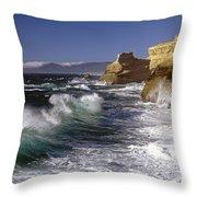 Cape Kiwanda With Breaking Waves Throw Pillow