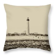Cape May Lighthouse In Sepia Throw Pillow