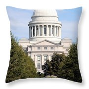 Capitol Building In Little Rock Throw Pillow