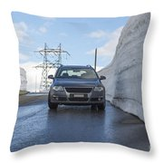 Car And Snow Wall Throw Pillow