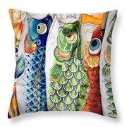 Carp Kites Throw Pillow