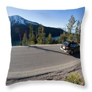 Cars Driving Along Hwy 89 Over Emerald Throw Pillow