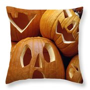 Carved Pumpkins Throw Pillow