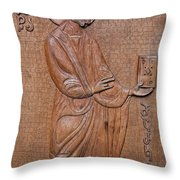Carved Wooden Door Of The Tsminda Sameba Cathedral Throw Pillow