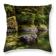 Cascade Locks, Oregon, Usa. A Woman Throw Pillow