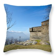 Castle And Trees Throw Pillow