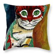Cat Around Corner Throw Pillow