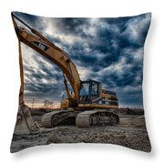 Cat Excavator Throw Pillow