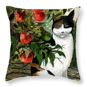 Cat On The Patio Throw Pillow