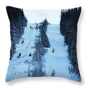 Cat Skiing At Fortress Mountain Throw Pillow