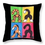 Cat Tails - Primary Throw Pillow