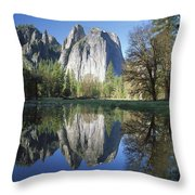 Cathedral Rock And The Merced River Throw Pillow