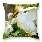Cattle Egret With Young In Nest Throw Pillow