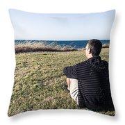 Caucasian Traveler Relaxing On Grass Outdoors Throw Pillow
