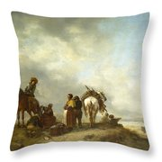 Seashore With Fishwives Offering Fish Throw Pillow