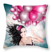 Celebration. Happy Fashion Woman Holding Balloons Throw Pillow