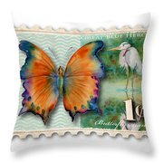 1 Cent Butterfly Stamp Throw Pillow
