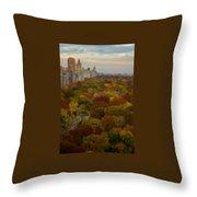 Central Park In Autumn Throw Pillow