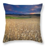Cereal Fields At Sunset Throw Pillow
