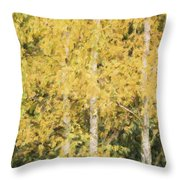 Cezanne Style Digital Painting Beautiful Autumn Color In Forest Throw Pillow