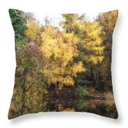 Cezanne Style Digital Painting Beautiful Vibrant Autumn Woodland Reflecions In Calm Lake Waters Throw Pillow