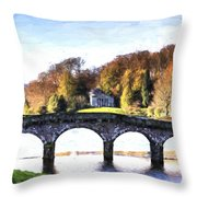 Cezanne Style Digital Painting Bridge Over Main Lake In Stourhead Gardens During Autumn. Throw Pillow