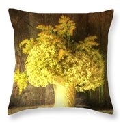 Cezanne Style Digital Painting Retro Style Still Life Of Dried Flowers In Vase Against Worn Woo Throw Pillow